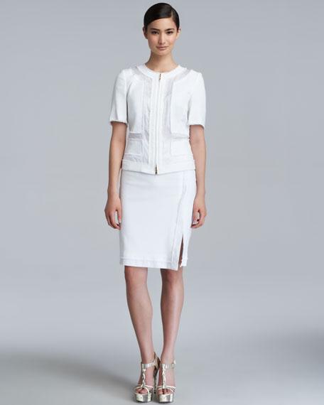 Remise Stretch Cotton Skirt, White