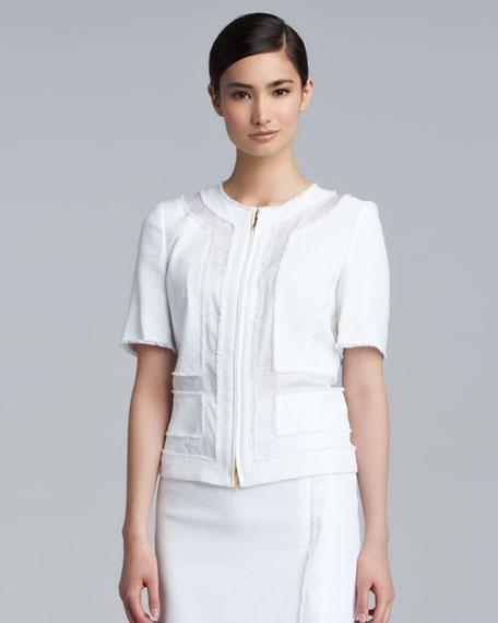 Bisar Stretch Cotton Zip Jacket, White
