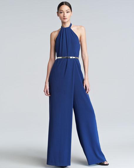Halter Wide-Leg Jumpsuit, Blue