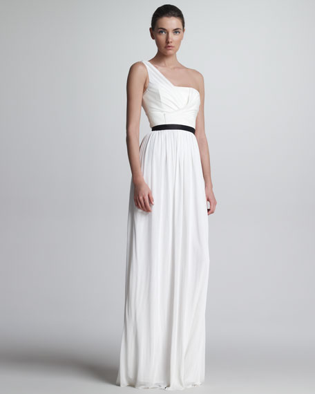 One-Shoulder Jersey & Leather Gown, White