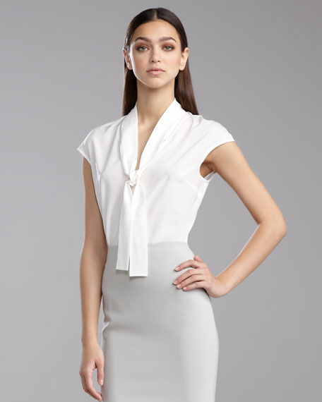 Cap-Sleeve Ascot Blouse, Bright White