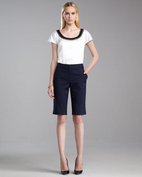 Emma Stretch Bermuda Shorts, Navy
