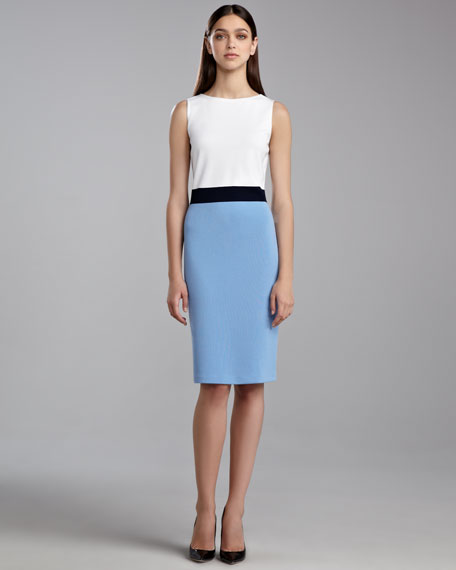Milano Sleeveless Colorblock Dress, White/Navy/Amalfi Blue