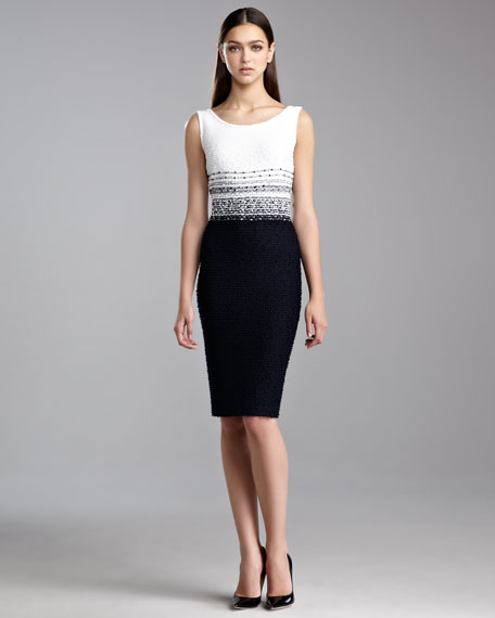 Cannes Tweed Scoop-Neck Dress, White/Navy
