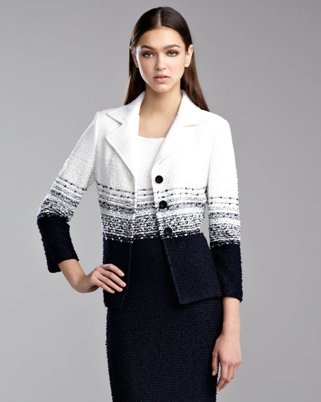 Cannes Tweed Knit Jacket, White/Navy