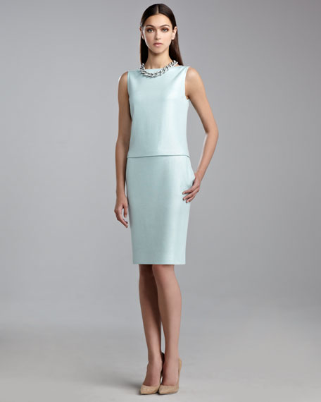Sequined Milano Knit Bateau-Neck Dress, Mint