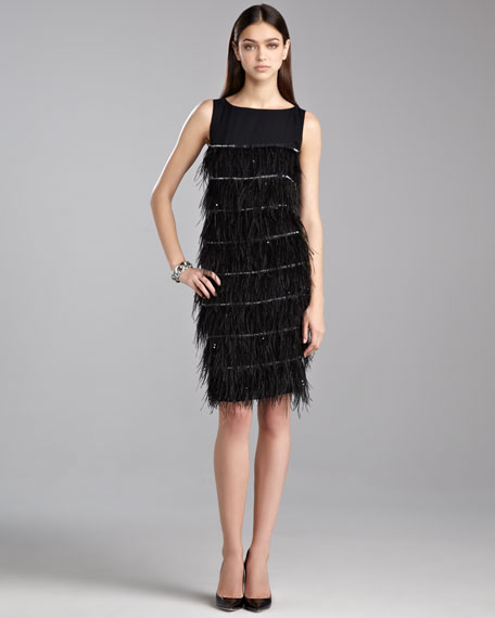 Tiered Feather Cocktail Dress, Caviar