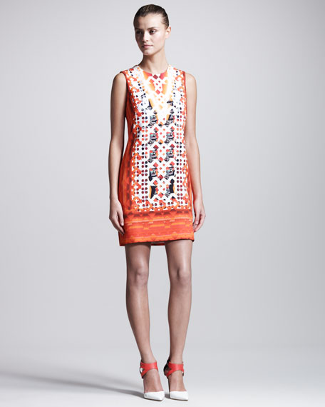Stamped Jersey Dress, Red