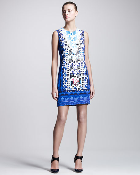 Stamped Jersey Dress, Blue
