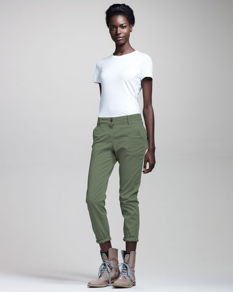 Garment-Dyed Slim Jeans, Grass