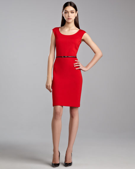 Milano Cap-Sleeve Scoop-Neck Dress, Venetian Red