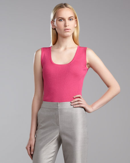 Sleeveless Fine-Gauge Ribbed Shell, Haute Pink