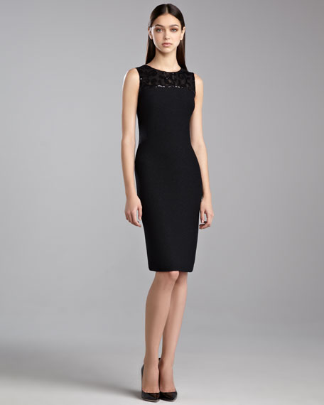 Sequin Shimmer Knit Dress, Caviar
