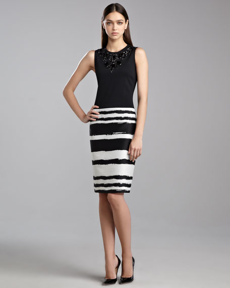 Brushstroke Brocade Dress, Caviar/White