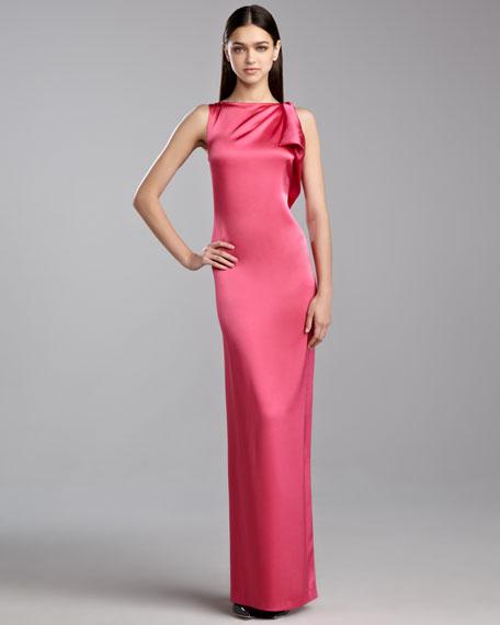 Liquid Satin Drape Gown, Haute Pink