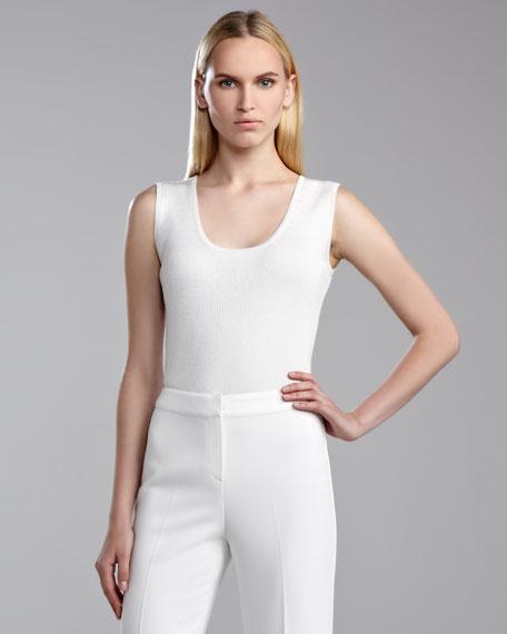 Sleeveless Fine-Gauge Ribbed Shell, Bright White