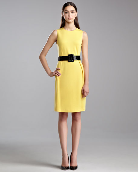 Milano Knit Jewel-Neck Dress, Tuscan Yellow