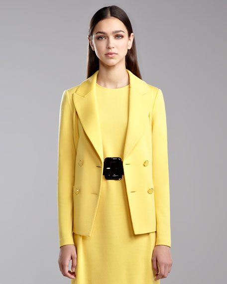 Milano Knit Double-Breasted Blazer, Tuscan Yellow