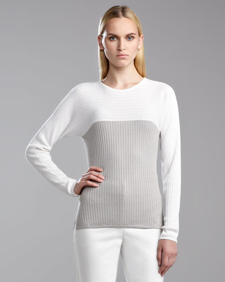 Flat Rib-Knit Colorblock Sweater