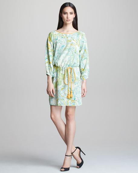 Bracelet-Sleeve Dress with Drawstring Waist