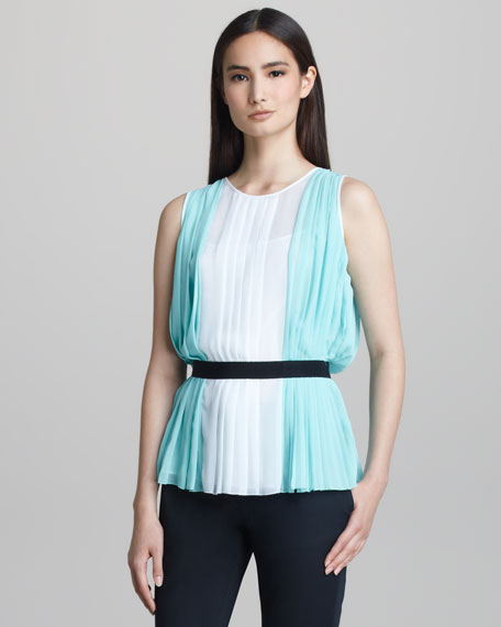 Colorblock Plisse Blouse