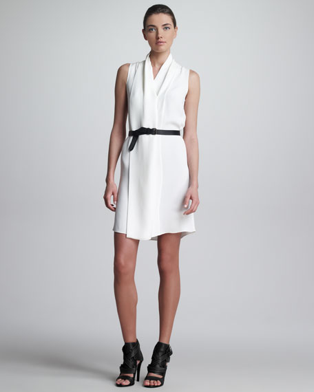 Draped Belted Dress, White