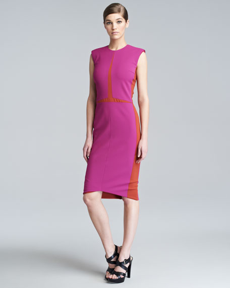 Sleeveless Colorblock Sheath Dress, Magenta