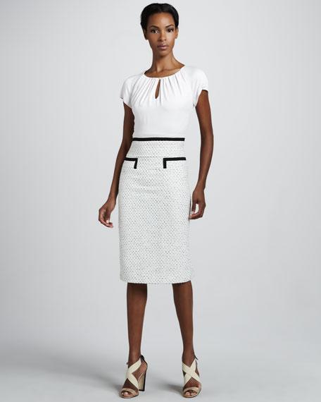 Tweed-Skirt Dress, Ivory