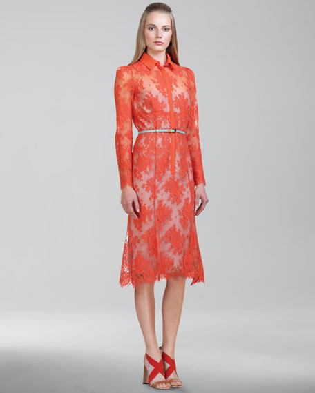 Chantilly Lace Shirtdress, Orange