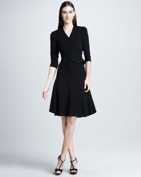 Flared Wool Skirt, Black