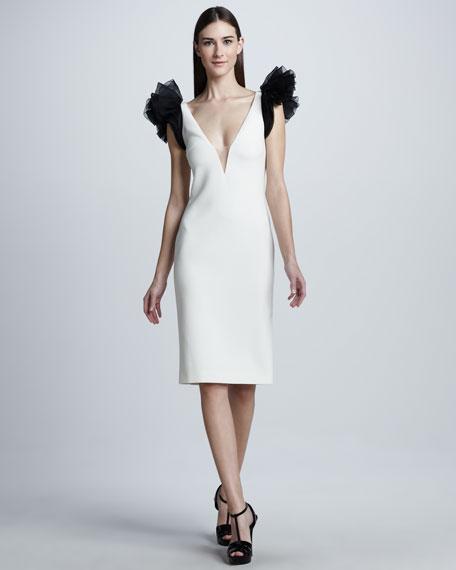 Ruffle-Sleeve Dress, Cream