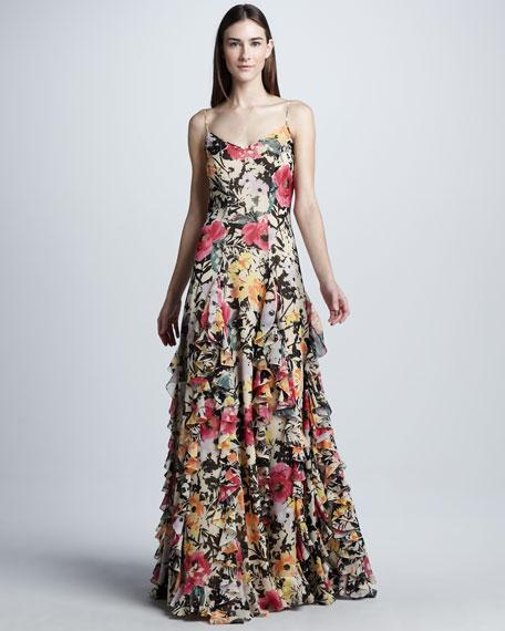 Floral Silk Organza Evening Dress
