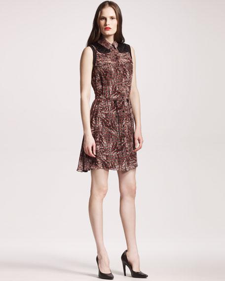 Quilt-Trim Georgette Dress