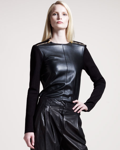 Leather-Front Top