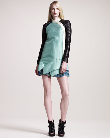 Leather-Sleeve Shantung Dress
