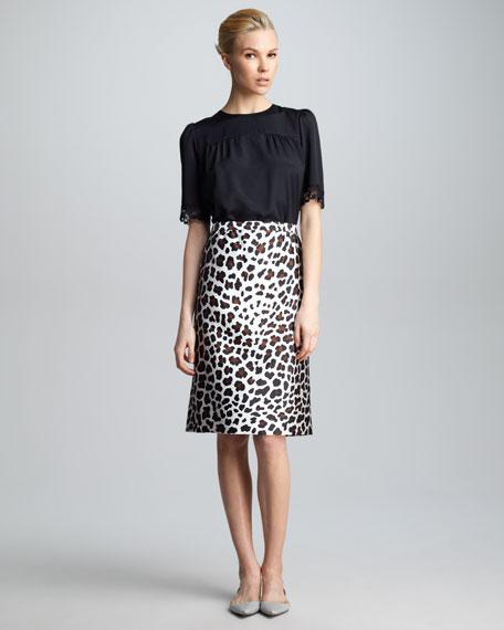 Leopard-Print Satin Skirt