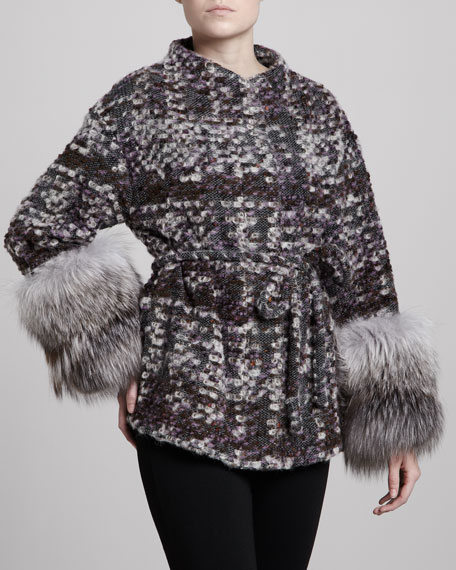 Fox Fur-Cuff Boucle Coat