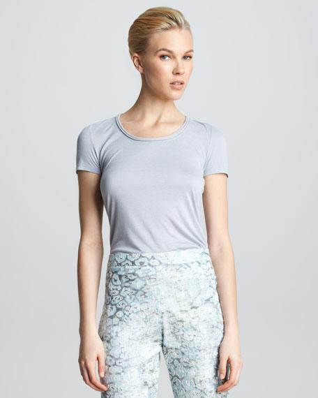 Rolled-Neck Short-Sleeve Shirt, Gray