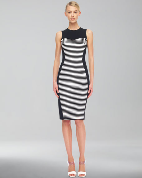 Solid-Panel Striped Ponte Dress