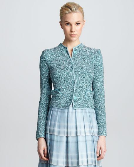 Tweed Mock-Collar Jacket