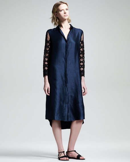 Embroidered-Sleeve Shirtdress
