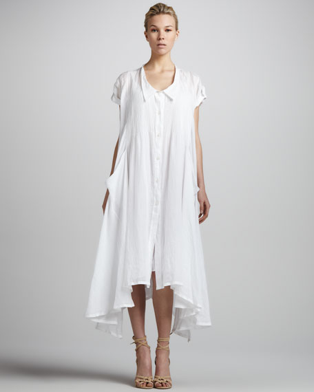 Cap-Sleeve Pintucked Button-Front Dress, White