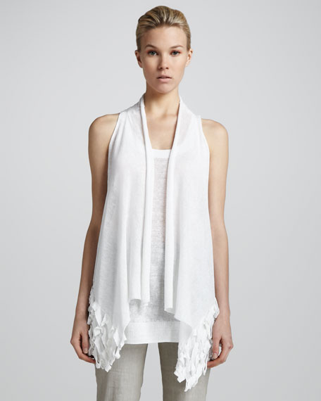 Sleeveless Drape-Front Cozy, White