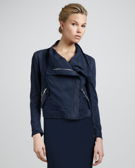 Linen-Blend Biker Jacket