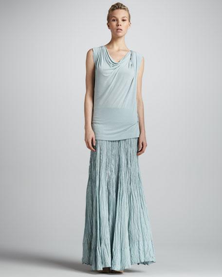 Jersey-Waist Broomstick Maxi Skirt, Aquamint