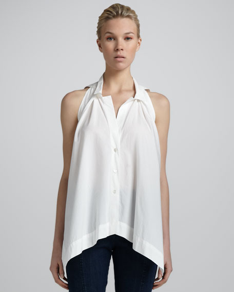 Pleated-Front Sleeveless Top, White