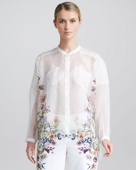 Oversized Floral Silk Organza Blouse