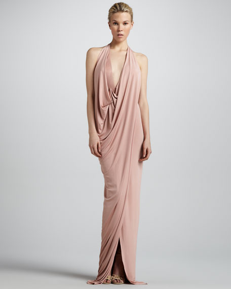 Draped Jersey Evening Gown, Nectar
