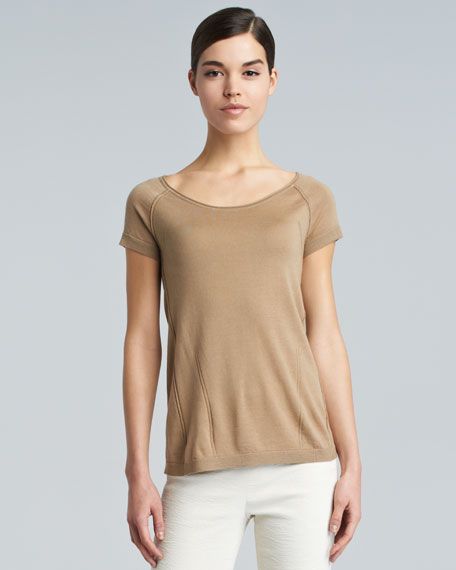 Wide-Neck Knit Tee, Honey Beige