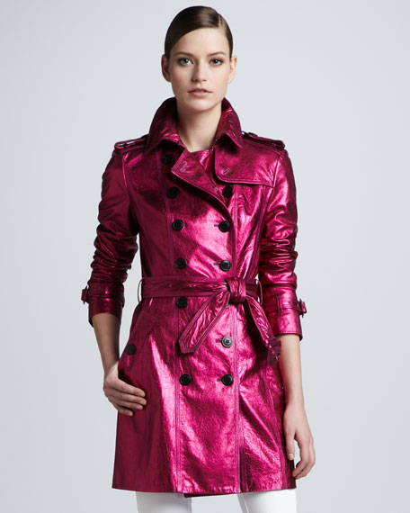 Metallic Leather Trenchcoat, Fuchsia